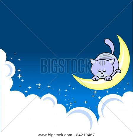 Small blue pretty cat sleeping on crescent