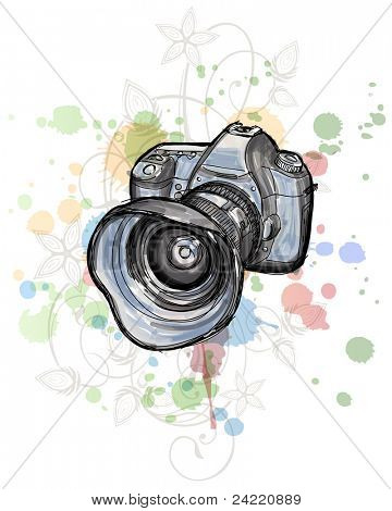 Color sketch of a digital photo camera  & floral calligraphy ornament - a stylized orchid, color paint background
