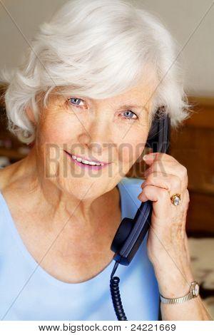 Senior lady having a telephone call