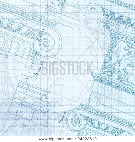 "Architecture Blueprint - Hand draw sketch ionic architectural order based ""The Five Orders of Architecture"" is a book on architecture by Giacomo Barozzi da Vignola from 1593. Vector illustration."