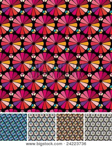 Set of Abstract seamless backgrounds  with stained glass effect