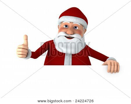 Daumen hoch Santa With Blank Sign