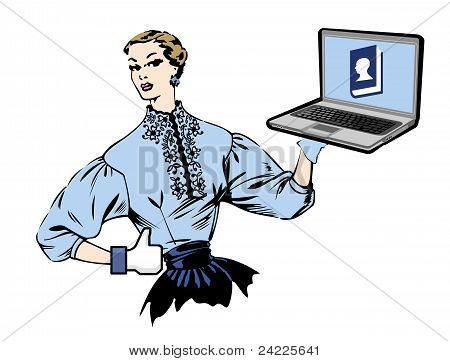 Social Media Retro Woman With Laptop.