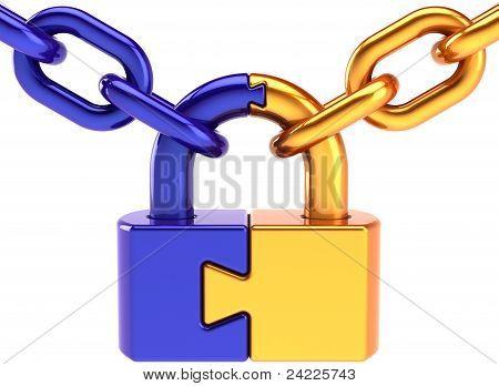 Vorhängeschloss Sicherheit Puzzle Sperrkonzept