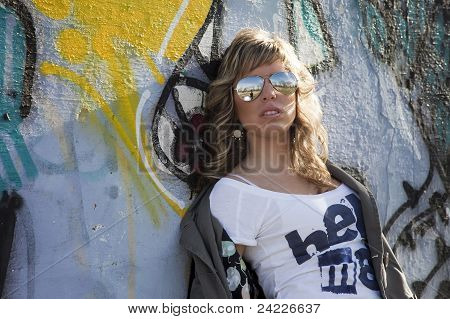 Sexy Girl In Graffiti Wall