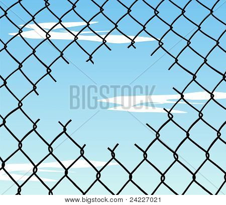 Cut Wire Fence With Blue Sky Background