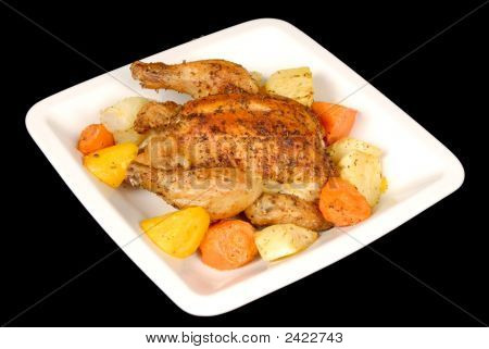 Roasted Cornish Hen And Root Vegetables
