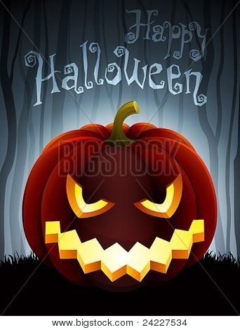 Halloween illustration with pumpkin on dark forest background.