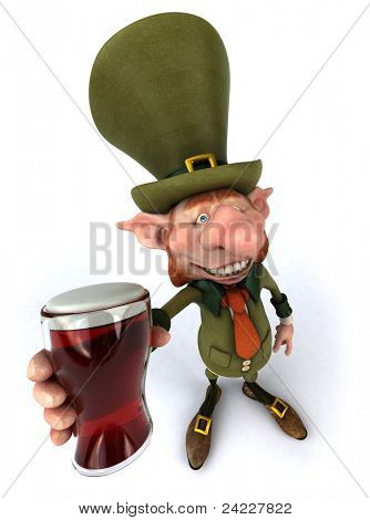 Irish leprechaun and beer