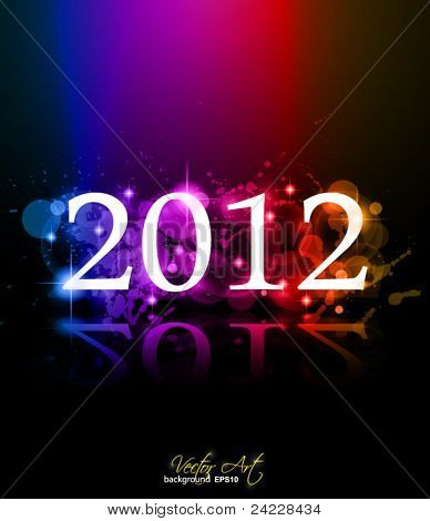 2012 New Year celebration background for cover, Flyer or poster with glitter elements and rainbow colours.