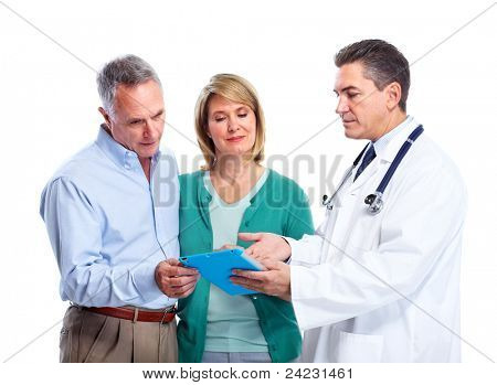 Smiling medical doctor with senior couple. Isolated over white background.