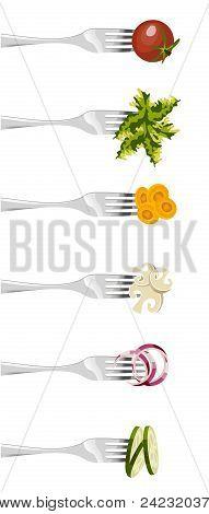 Forks And Vegetables.