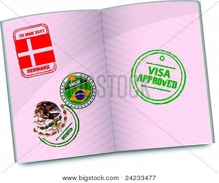 passport with approved visa stamp