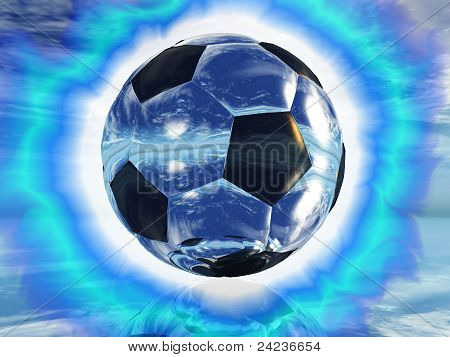 a soccer ball and lights