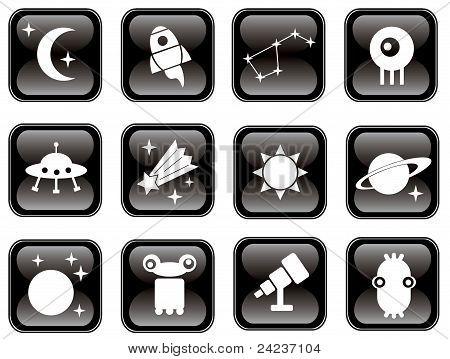 Conjunto de iconos de espacio.