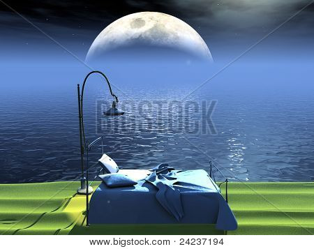 bed by moon