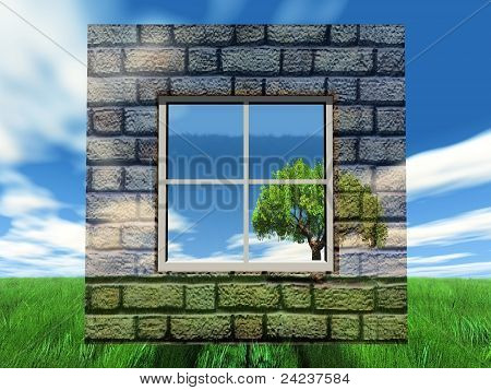 brick wall and nature