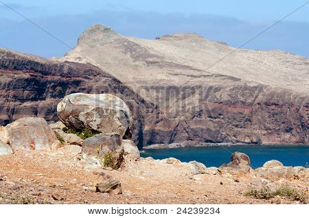 Bolder on a cliff, Island of Madeira