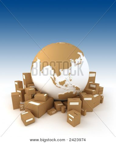 World Globe Surrounded By Packages Asia Oriented
