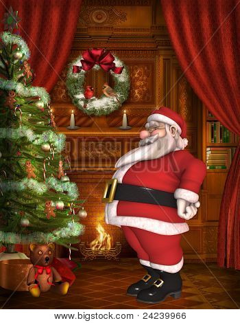 Toon Santa with christmas background