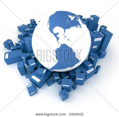 Blue Earth Globe With Packages Oriented To America