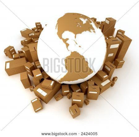 Brown Earth Globe Surrounded By Packages Oriented To America