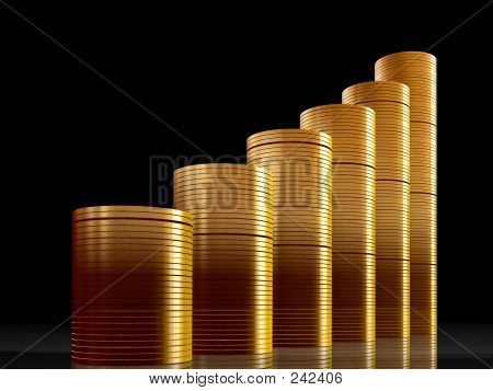 Coins Business Graph Over Black