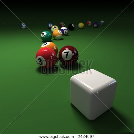 Billiards Game With Cubic Cue Ball