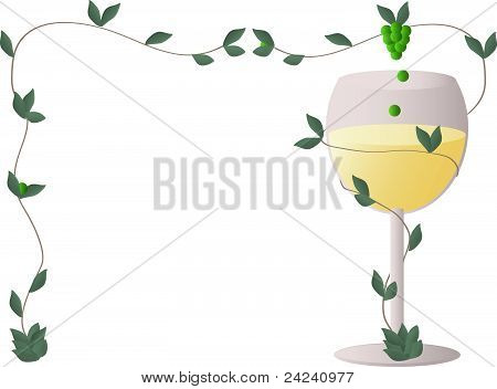 White wine with a wine grapes in a frame