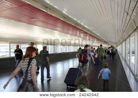 Passengers In Transit. Barcelona Airport
