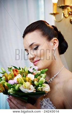 Happy Bride In Wedding Palace