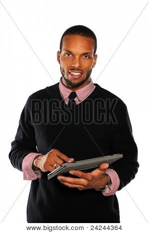 Portrait of African American businessman using electronic tablet isolated over white background