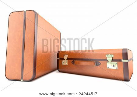 Two light brown vintage suitcases
