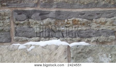 Snowy Stone Block Wall