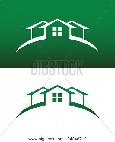 Ícone de arco verde casa com janela Vector sólido e invertida.