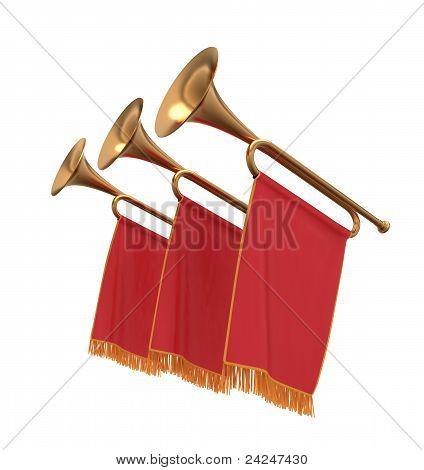 Drei Trompeten mit einen roten Banner-Fahnen-Wimpel.