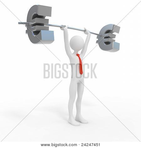 Powerful Businessman Lift Euro