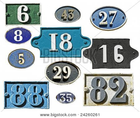 many plates address number isolated on white, French style