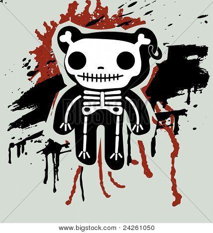 Grunge background with teddy in bones