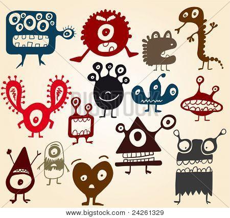 Viele süße Doodle Monster