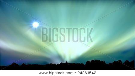 vectorial illustration of aurora polaris, EPS-10 format