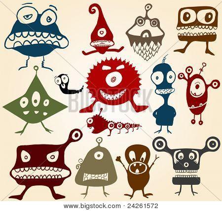 Viele süße Doodle Monster Set 2