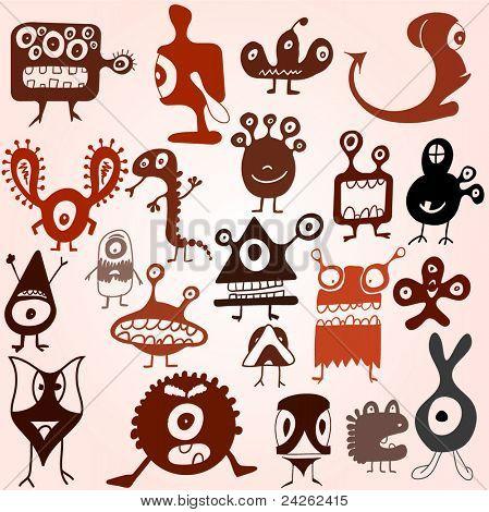 Viele süße doodle Monster Satz