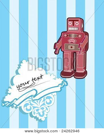 robot card with baroque elements