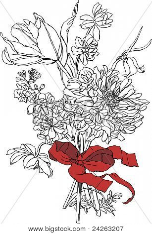 Bunch of flowers. Vector
