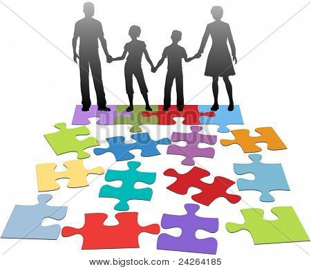 Puzzle pieces symbols of problems facing broken family and solution