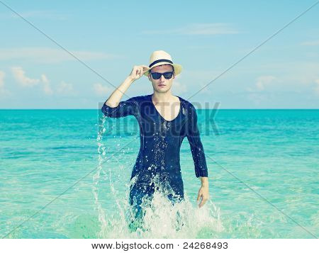 Stylish Man In The Sea