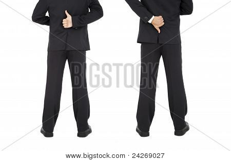 thumb up and down hand signs of businessman
