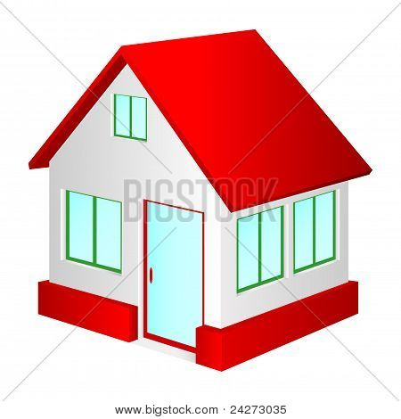 Casa con techo rojo.
