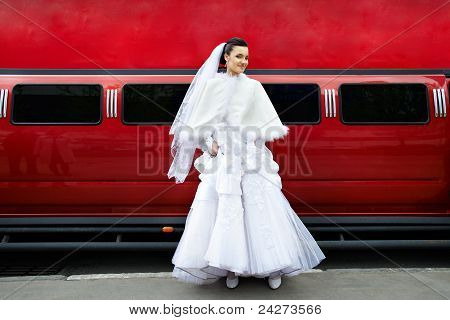 Beauty Bride On Background Red Limo Car